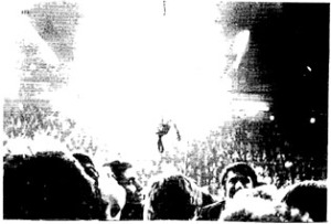 A noose descends as Norman Willis speaks at a miners' rally. but this anger at the role of the union bureaucrats has to be turned into constructing an alternative.