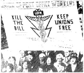 Postal Workers protest at the Industrial Relations Bill, during their strike in 1971.